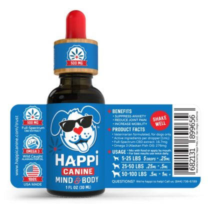 Happi Canine CBD Oil For Dogs Bottle Label